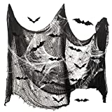 TAROME 34tlg Halloween Spinnennetz Deko, Schwarze Stoff Gruselig Halloweendeko Weiße spinnenweben Halloweenstoff mit 3D Fledermaus Party Dekostoff für Spukhäuser Fenster Wand Tisch Tür Decke
