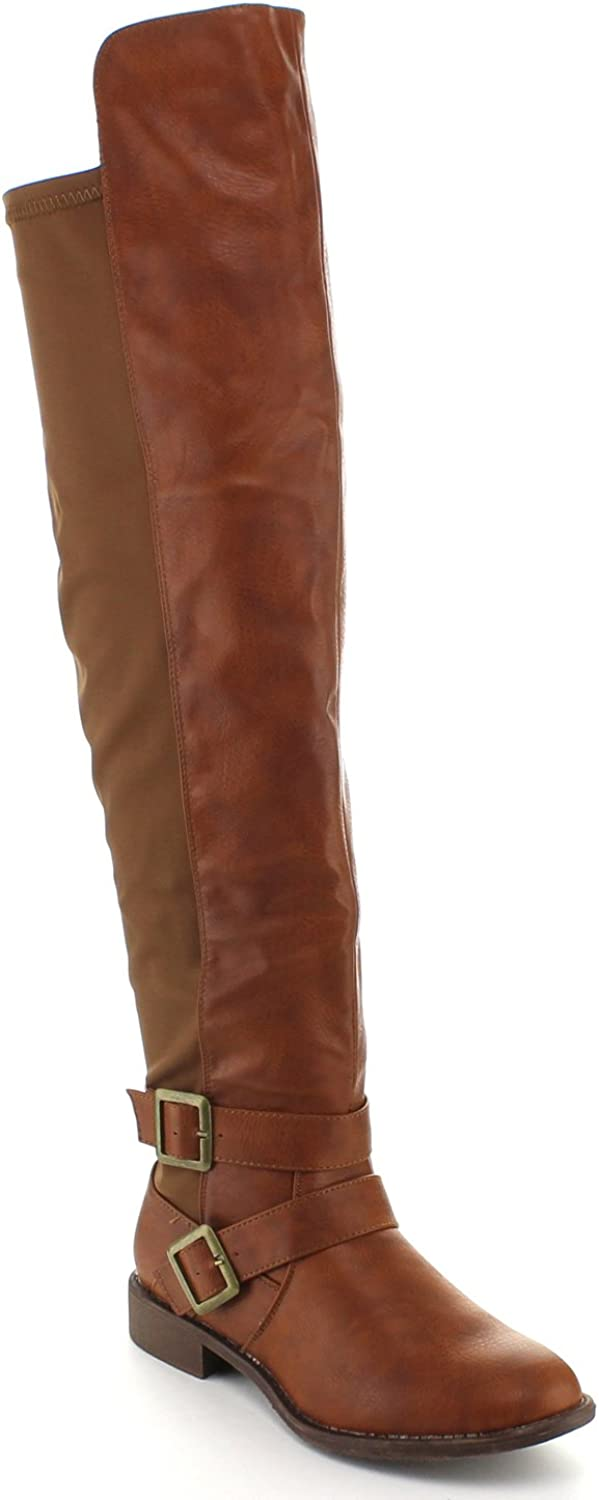 Top Moda Womens Polly-7 Knee High Buckle Riding Boots