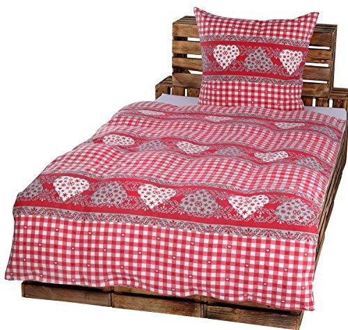 2tlg Winter Bettwäsche Set Fleece Microfaser Landhaus Bauernhaus Karo Herz Übergröße 155 x 220 cm + 80 x 80 cm NEU Weiß Rot Bordeaux Simone