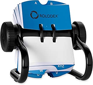 Rolodex Open Rotary Card File with 500 2-1/4 x 4 Inch Cards and 24 Guides, Black Finish (66704) - 4 Pack (4)