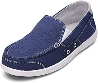 Xiang Ye Lightweight Flat Canvas Shoes for Men Casual Slip on Loafer Elastic Bands Summer Outdoor Walking (Color : Light Blue, Size : 42 EU)
