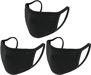 UNIME 3 Pcs Fashion Protective Face Masks, Unisex Black Dust Cotton Mouth Masks, Washable, Reusable Masks