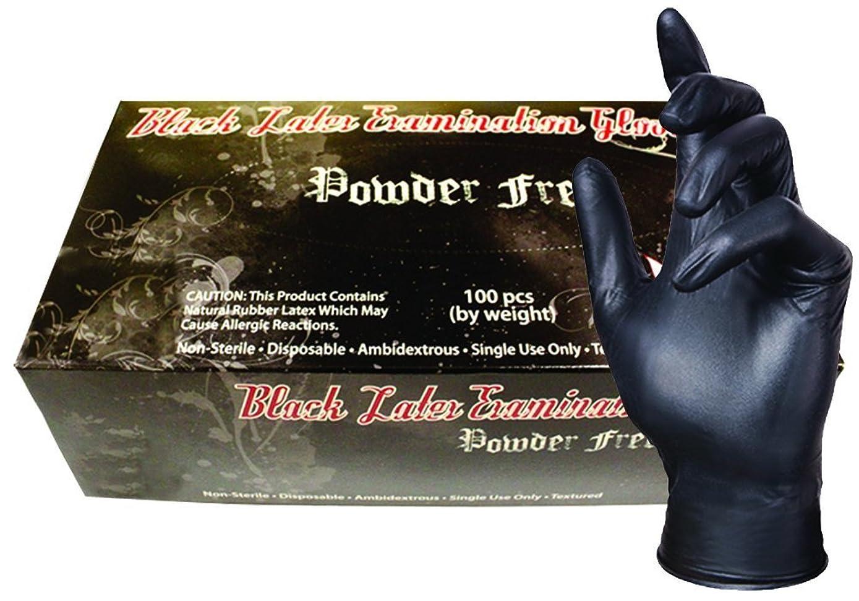 SKINTX BLK90015-L-CS Latex Medical Grade Examination Gloves, 5 mil - 5.5 mil, Powder-Free, Textured, Polymer Coated, Tattoo, Large, Black (Pack of 1000)
