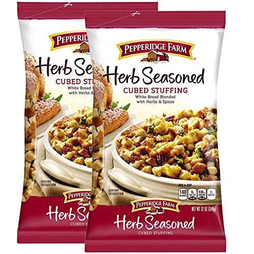 packaged stuffing side dishes Pepperidge Farm Herb Seasoned Cubed Stuffing Pack of 2, 12 Oz Bag | White bread Blended With Herbs & Spices | Turkey Poultry Casserole | Holiday Thanksgiving Christmas Dinner