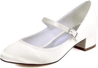Women Closed Toe Chunky Heel Mary Jane Pumps Satin Evening Wedding Dress Shoes