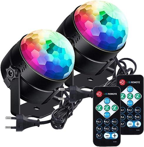 La boule disco a mené la lumière disco lunsy de 6 couleurs RVB LED contrôlée par la musique de fête Disco Light Effet...