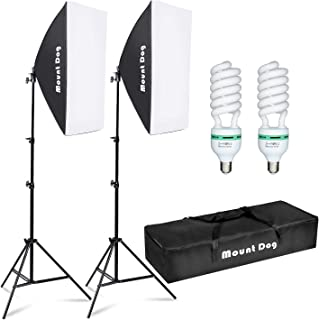 """MOUNTDOG Softbox Lighting Kit Photography Studio Light 20""""X28"""" Professional Continuous Light System with E27 95W Bulbs 5500K Photo Equipment for Filming Model Portraits Advertising Shooting"""