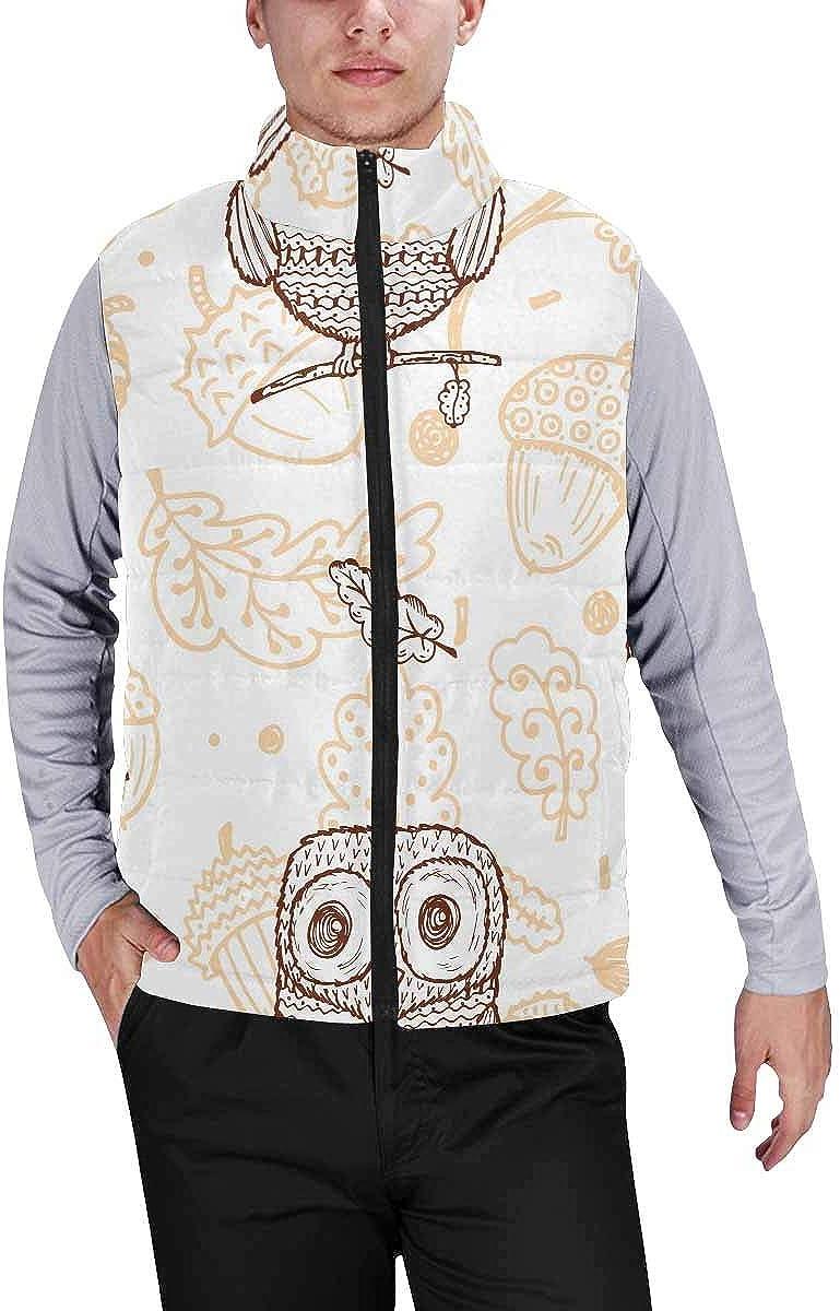 InterestPrint Men's Lightweight Keep Warm Puffer Vest for Outdoor Musical Treble Clef with a Heart