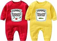 culbutomind - Body para bebé con la marca Yummz de tomate, ketchup o mostaza, para gemelos, unisex, de color rojo y amarillo