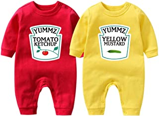 Baby Bodysuit Yummz Tomato Ketchup Mustard Red Yellow Twins Set Boys Girls Clothes Twins Baby Outfits