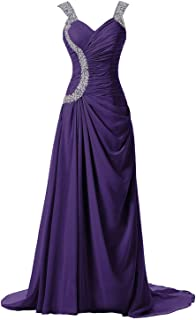 0811658f82c33 DINGZAN Straps Chiffon Special Occasion Formal Bridesmaid Dresses Long