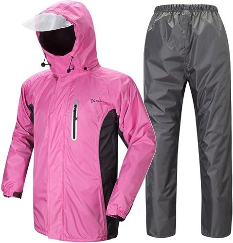 Imperméable Les Hommes et Les Femmes épaississent la Veste de Moto électrique extérieure, Pantalon de Pluie (Couleur   Rose, Taille   XL)