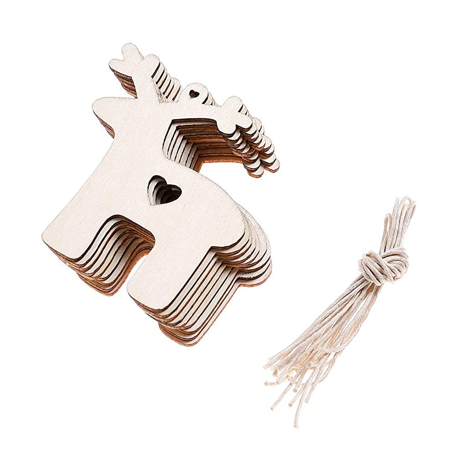 DSSY 20 Pieces Unfinished Wooden Christmas Gift Tags Christmas Tree Ornaments for Christmas Decoration and DIY Craft Making(Reindeer)