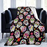 BLUBLU Day of The Dead Sugar Skull Flannel Fleece Bed Blanket Throw Blanket Lightweight Cozy Plush Blanket for Bedroom Living Rooms Sofa Couch 50'x40'