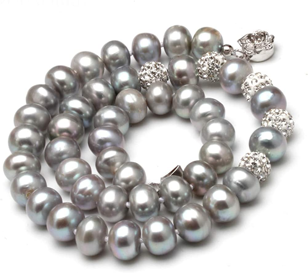HENGSHENG Freshwater excellence Cultured Button Grey Superlatite Pearl 925 Ste Necklace