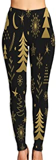 Christmas Pattern Gold Trees Yoga Pants Washable Legging Tights Quick Dry Sportswear for Women Girl Workout