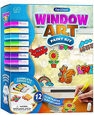 Window Art for Kids - Sun Catchers Painting Kit - Suncatcher Craft Set Gift for Kids - Arts and Crafts for Girls Ages 6-12 Year Old - Paint Activities Kits Projects - Girl & Boys DIY Age 5 6 7 8 9 10 from Dan&Darci