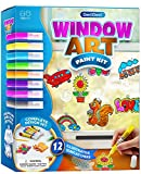 Window Art for Kids - Sun Catchers Painting Kit - Suncatcher Craft Set Gift for Kids - Arts and Crafts for Girls Ages 6-12 Year Old - Paint Activities Kits Projects - Girl & Boys DIY Age 5 6 7 8 9 10
