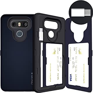 LG G6 Case, LG G6 Card Case, SKINU [USB Type C] [Metal Slate] [Shockproof] [Dual Layer] [Card Slot] [Drop Protection] [Wallet] with Mirror and Adapter for LG G6 - Metal Slate