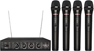 Phenyx Pro 4-Channel VHF Wireless Microphone System, 4 Handheld Mics, Fixed Frequency, Metal Receiver, Long Distance Operation, Ideal for Church, Party, Public Address (PTV-2000)