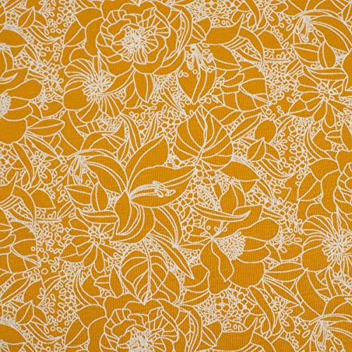 Mooi leven. Katoenen jersey bloemen kant mosterd geel wit 1,5 m breedte