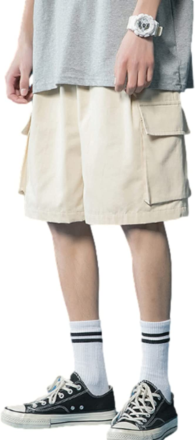Men's Straight Shorts Fashion Relaxed Trend Large Size Solid Color Simplicity