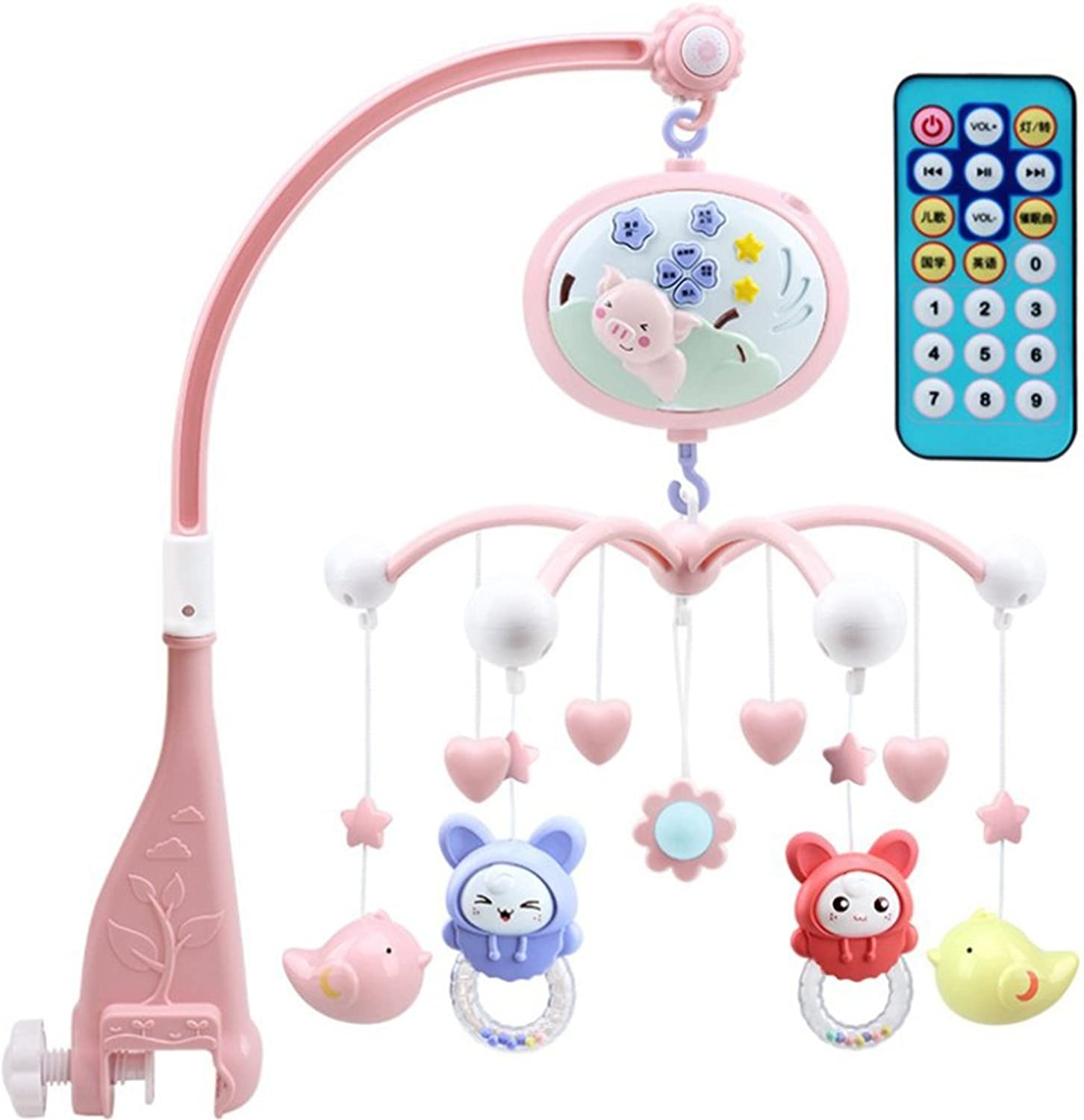 TOYANDONA Baby Mobile for Crib with Music Lights Timing Function Projection for Babies boy Girl toddles Sleep (Pink Pig)