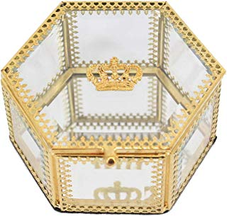 Gabrine Exquisite Clear Glass Gold Jewelry Box Mirrored Jewelry Case Jewelry Organizer Jewelry Storage