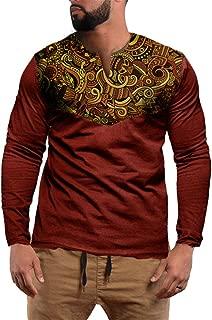 Mens Tribal African Long Sleeve T Shirt V Neck Traditional Dashiki Floral Print Casual Sweatshirt Tops