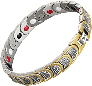 Titanium Magnetic Therapy Bracelet 4 Element for Arthritis Pain Relief with Free Link Removal Tool - Silver&Gold