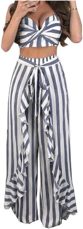 ColourfulWomen 2Piece Striped Wrap Playsuit Flouncing Palazzo Wide Leg Pants Sets