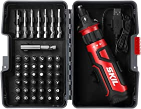SKIL Rechargeable 4V Cordless Screwdriver with Circuit Sensor Technology, Includes 45pcs Bit Set, USB Charging Cable, Carr...