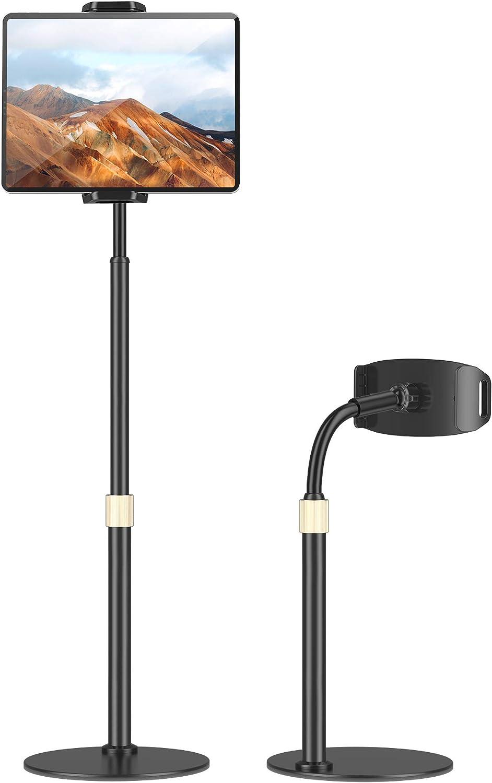 TRYONE Soporte Tablet, Multiángulo Soporte Tablet - Altura Ajustable, Rotación de 360 Grados, con Clip Retráctil y Brazo Flexible para iPad, Switch, Samsung, Todos Los Teléfonos y Tablets de 12-28cm