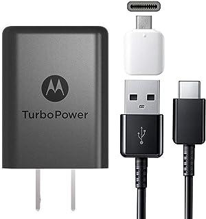 Motorola 15w TurboPower TYPE C Charger - W/Headset Jack & Google C USB Adapter for Moto X4, Z2