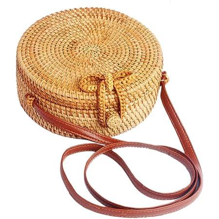 Ulisty Rund Rattan Tasche Kreis Strohbeutel Handgefertigte Tasche Weben Korb Handgewebte Tasche Sommer-Strandtasche Schultertasche Umhängetasche für Damen/Frauen