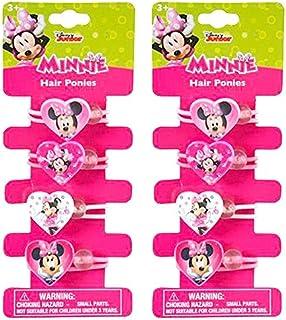 Hair Ponies Elastic Disney Ponytails Holders (8 ct Minnie Mouse (Heart Shape))