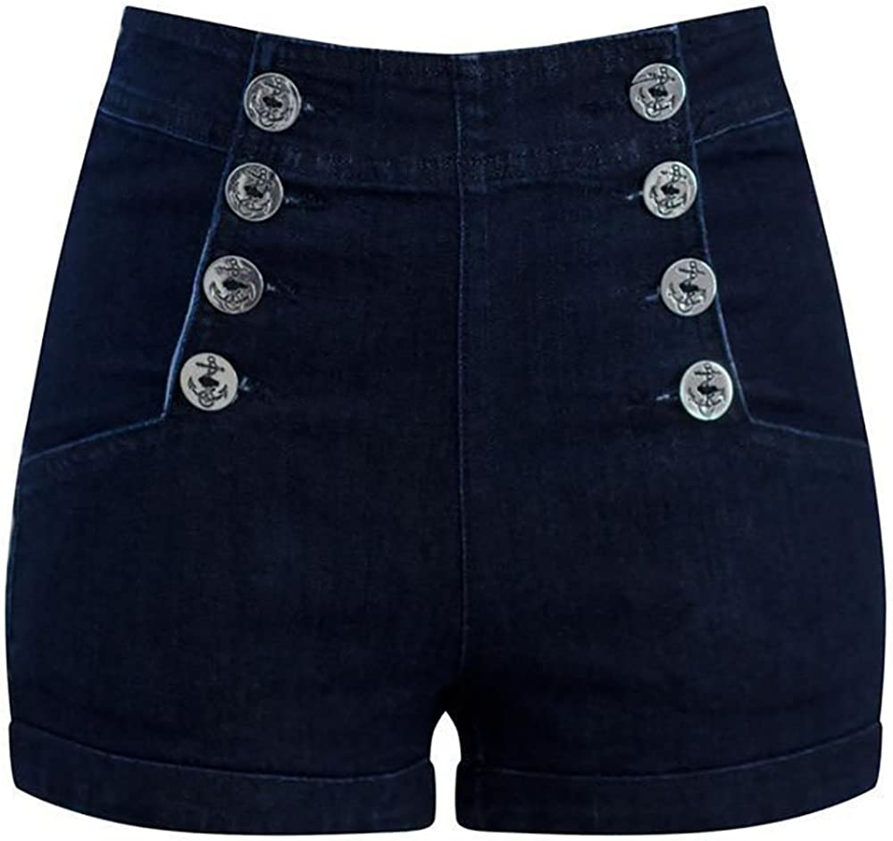 High Waist Sailor Girl Dark Denim Shorts with Anchor Buttons
