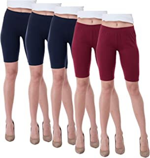 IndiWeaves Women's Cotton Cycling Shorts (Csw01-3csw02-2-iw_Navy Blue/Maroon_38) Pack of 5