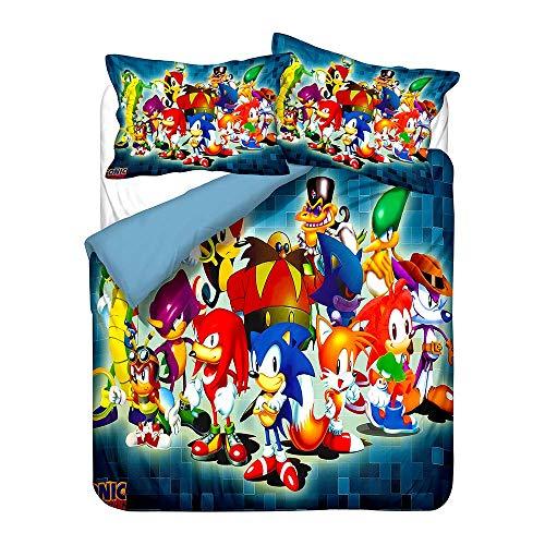 #bedding Sonic The Hedgehog - Juego de funda de edredón de microfibra súper suave (A35, King240 x 220 cm)