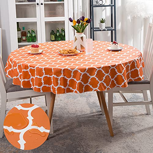 Smiry Flannel Backed Vinyl Tablecloth, Waterproof Round Table Cloth, Wipeable Table Cover for Indoor and Outdoor, 60' Round, Orange