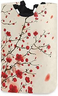 Mnsruu Panier à linge pliable avec poignées Motif fleurs de prunier