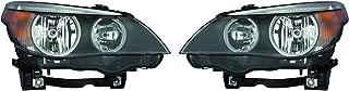 CarLights360: Fits 2006 2007 BMW 530i Head Light Pair Driver and Passenger Side W/Bulbs (Black Housing) Replaces BM2502134 BM2503133