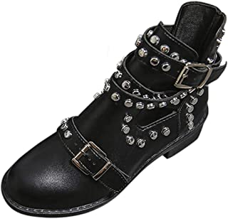Kauneus Women's Fashion Studded Leather Boots Classic Buckle Strap Ankle Booties Round Toe Low Heel Martin Boots