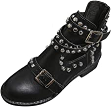 TIFENNY Hollow Flat Booties for Women Fashion Rivet Around Belt Buckle Ankle Boot Student Casual Large Size Single Shoes