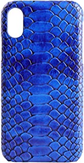 for iPhone Xs Case Snake Skin Cover Textured Slim fit Hard Shell PU Leather Shockproof Cover Case for iPhone X (Blue, iPhone X/Xs)