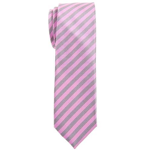 Boys Self Tie Necktie Light Pink with Purple Stripe