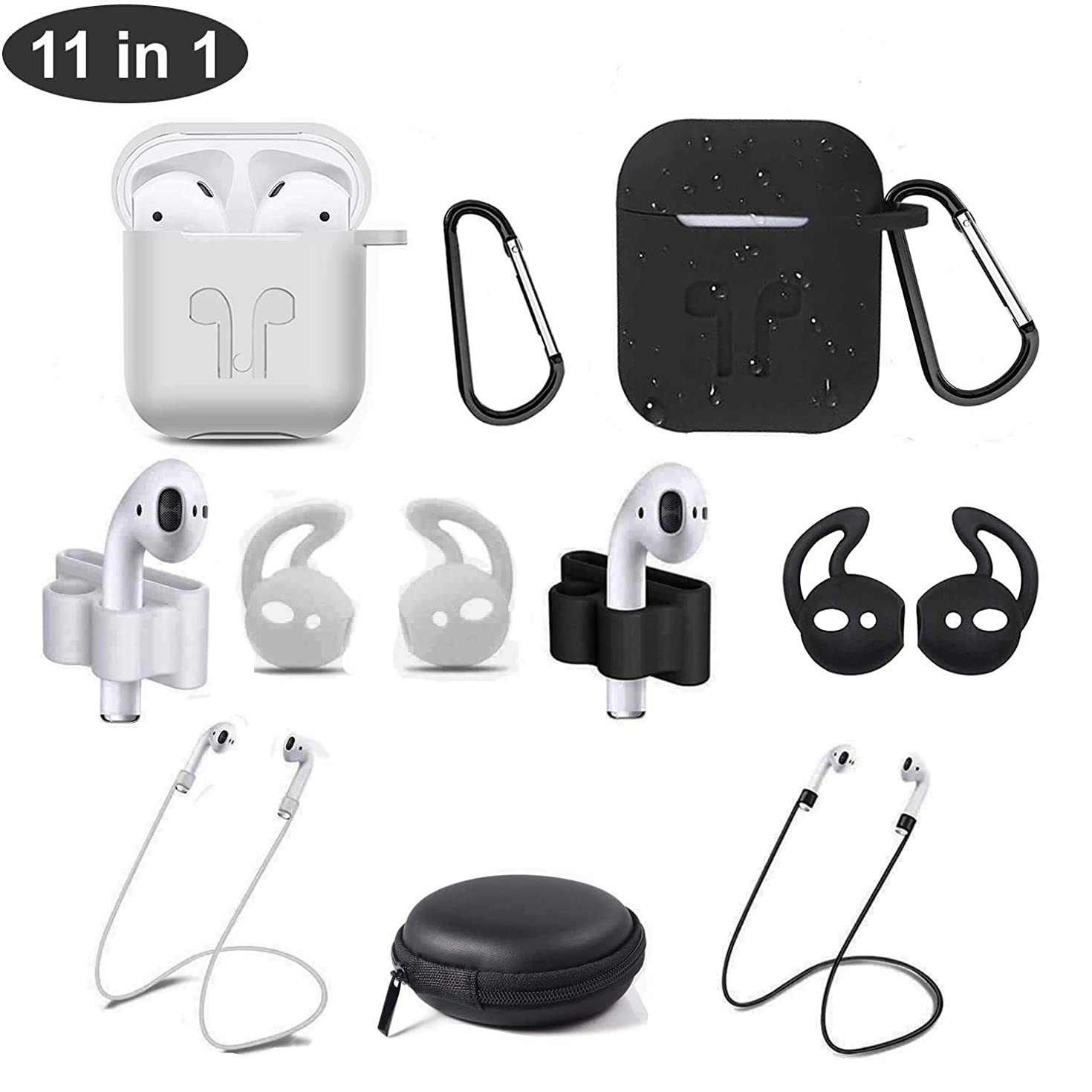 Airpods Case,Airpods Accessories Earphone Storage Bag Carrying Cases Kit,11 in 1 Waterproof Protective Silicone Cover,with Anti-Lost Airpods Strap/Keychain/Airpods Watch Band Holder (Black and White)