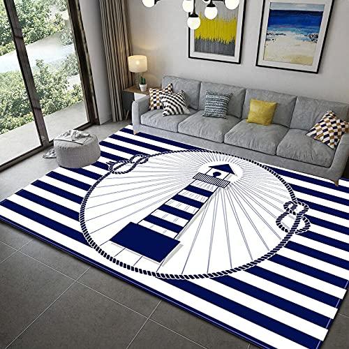 VBUEFM Lujosa Alfombra Moderna para Salón habitación de los Niños Dormitorio - Alfombra Antideslizante Muy Suave, Lavable, Faro De Rayas Azul Blanco 80 x 160 cm