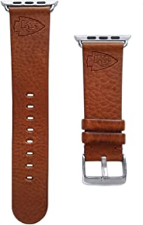 Game Time Kansas City Chiefs Tan Leather Band Compatible with Apple Watch - 42mm/44mm Long