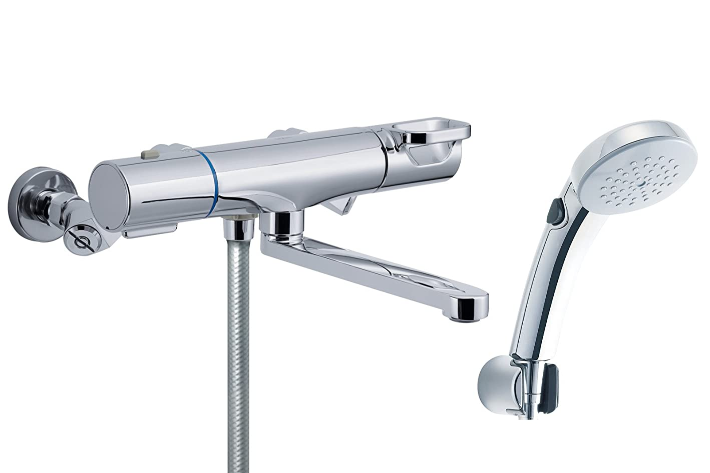 時間資本主義ライトニングLIXIL(リクシル) INAX 浴室用 サーモスタット付シャワーバス水栓 エコフルシャワー メッキヘッド スイッチ機能付 簡単取付脚タイプ RBF-814ZW